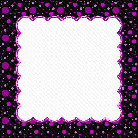 rosa negra: Pink and Black Polka Dot Frame with Embroidery Stitches Background with center for your message Foto de archivo