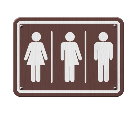 transgender: Transgender Sign, Brown and White Sign with a woman, male and transgender symbol Stock Photo