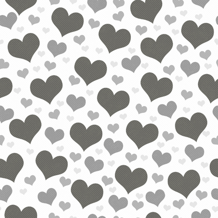 Gray and White Hearts Tile Pattern Repeat Background that is seamless and repeats