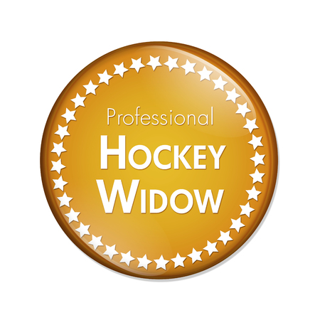 widow: Professional Hockey Widow Button, A Orange and White button with words Professional Hockey Widow and Stars isolated on a white background