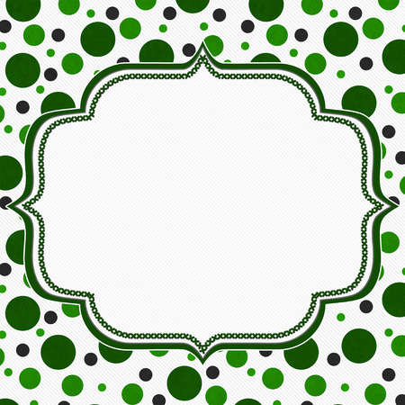 polka: Green and White Polka Dot Frame with Embroidery Stitches Background with center for your message