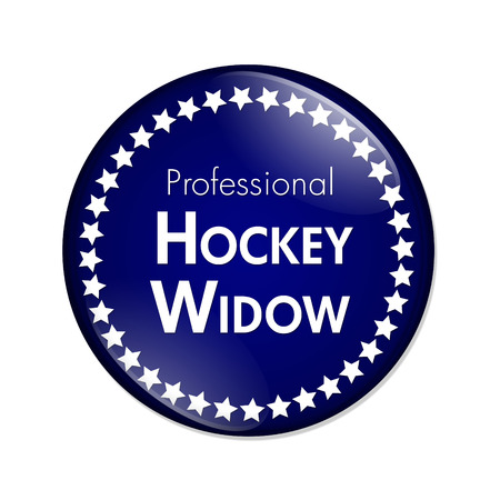Professional Hockey Widow Button, A Blue and White button with words Professional Hockey Widow and Stars isolated on a white background Stock Photo