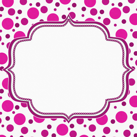 circles: Pink and White Polka Dot Frame with Embroidery Stitches Background with center for your message