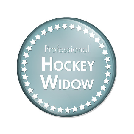 overwhite: Professional Hockey Widow Button, A Blue and White button with words Professional Hockey Widow and Stars isolated on a white background Stock Photo