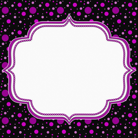 stitches: Pink and Black Polka Dot Frame with Embroidery Stitches Background with center for message Stock Photo