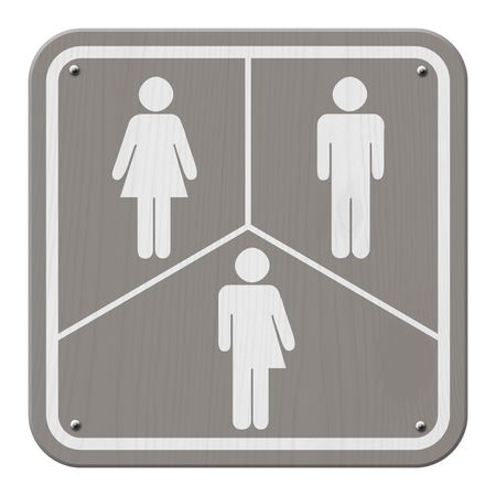 transgender: Gray and White Sign with a woman, male and transgender symbol Stock Photo