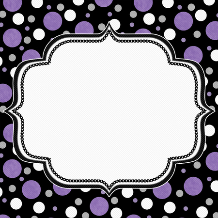 Purple, White And Black Polka Dot Frame With Embroidery Stitches ...