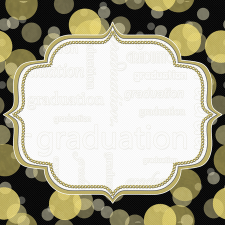invitation background: Yellow and Black Graduation Polka Dot Frame with Embroidery Stitches Background Stock Photo