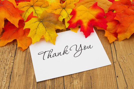 Autumn Leaves on weathered grunge wood with a Thank You Card