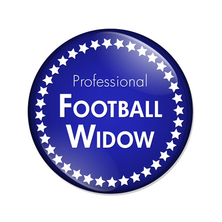 widow: A Blue and White button with words Professional Football Widow and Stars isolated on a white background Stock Photo