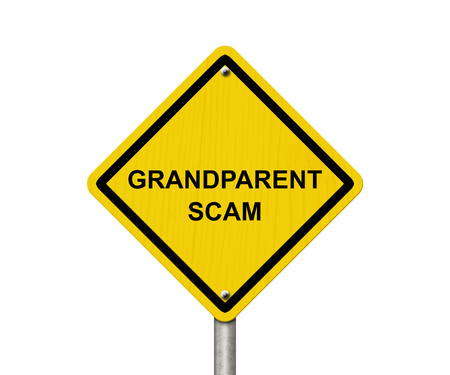 overwhite: Yellow warning road sign with word Grandparent Scam isolated on white