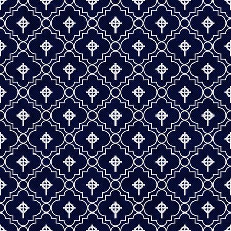 azul marino: Azul marino y negro de la cruz c�ltica S�mbolo Teja modelo de la repetici�n del fondo