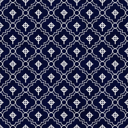 navy blue background: Navy Blue and White Celtic Cross Symbol Tile Pattern Repeat Background Stock Photo