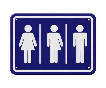 Transgender Sign, Blue and White Sign with a woman, male and transgender symbol