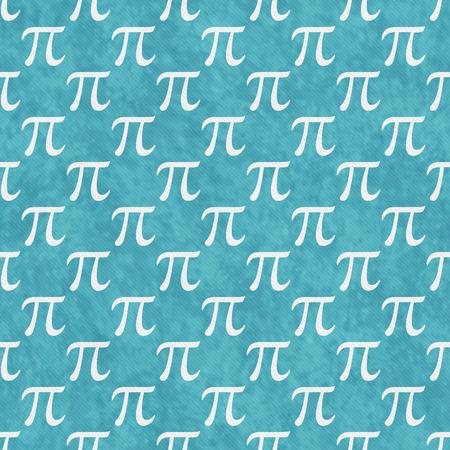 Teal and White Pi Symbol Design Tile Pattern Stock Photo