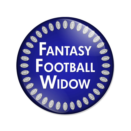 noone: Fantasy Football Widow Button, A Blue and White button with words Fantasy Football Widow and Footballs isolated on a white background