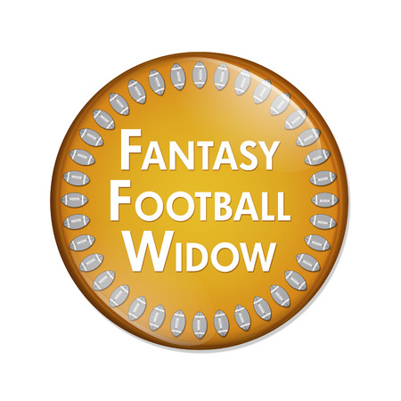 widow: Fantasy Football Widow Button, A Orange and White button with words Fantasy Football Widow and Footballs isolated on a white background