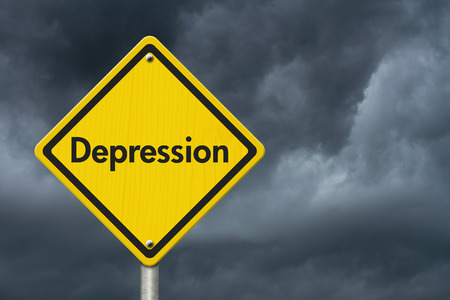 depression: Depression Warning Sign, Yellow Caution sign with word Depression with stormy sky background Stock Photo