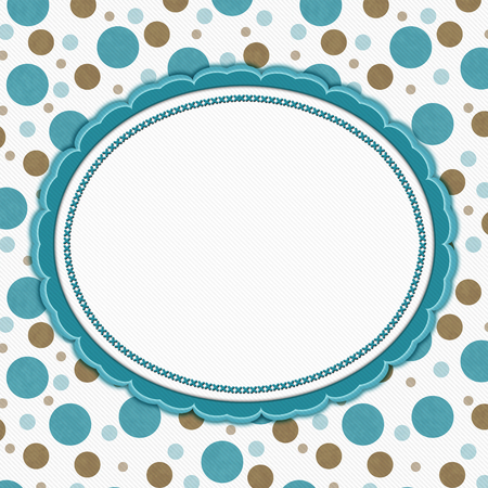 polka: Teal, Brown and White Polka Dot Frame with Embroidery Stitches Background with center for your message