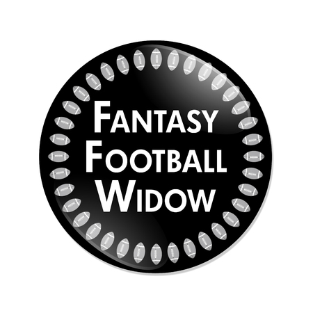 Fantasy Football Widow Button, A Black and White button with words Fantasy Football Widow and Footballs isolated on a white background Stock Photo