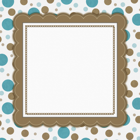 stitches: Teal, Brown and White Polka Dot Frame with Embroidery Stitches Background with center for your message