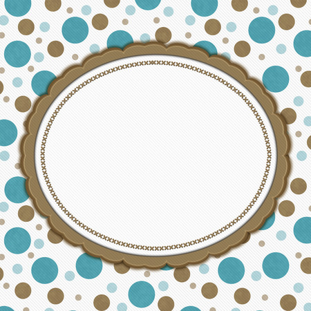 brown: Teal, Brown and White Polka Dot Frame with Embroidery Stitches Background with center for your message