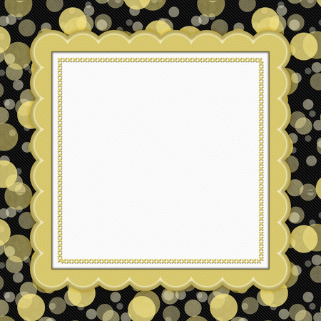 scrapbook frame: Yellow and Black Polka Dot Frame with Embroidery Stitches Background with center for your message Stock Photo