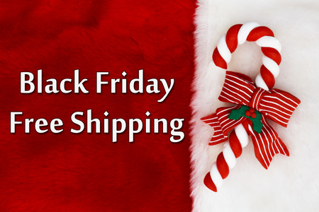 Black Friday Free Shipping, Red Plush background and a Candy Cane with text Black Friday Free Shipping