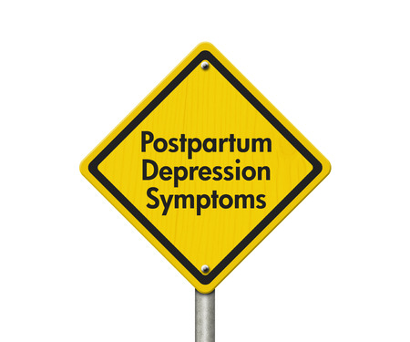 depresi�n: Los s�ntomas de la depresi�n posparto Se�al de advertencia, Se�al de precauci�n amarillo con palabras s�ntomas post-parto depresi�n aislada en blanco