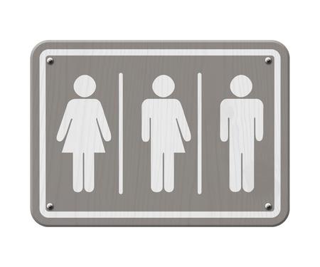 simbolo de la mujer: Transgénero sesión, gris y blanco señal de tráfico con una mujer, símbolo masculino y transgénero Foto de archivo