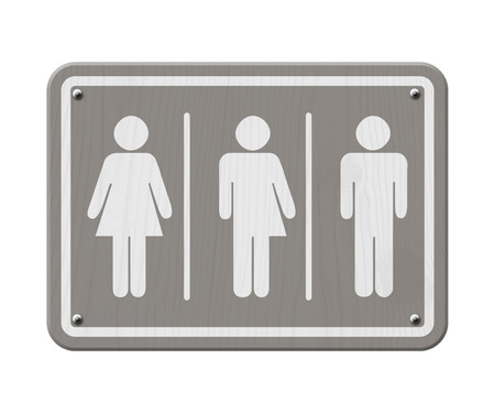 transsexual: Transgender Sign, Gray and White Sign with a woman, male and transgender symbol Stock Photo
