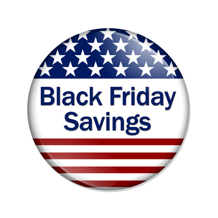 blue button: Black Friday Savings Button, A USA flag design button with words Black Friday Savings isolated on a white background