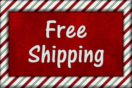 Holiday Time Free Shipping, Candy Cane Striped Frame with plush red background with Free Shipping