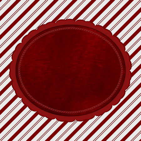 paper texture: Red and White Striped Candy Cane Striped with embroidery and red plush Background with copy space for your message