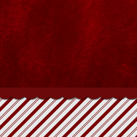 plush: Red and White Striped Candy Cane Striped with embroidery and red plush Background with copy space for your message