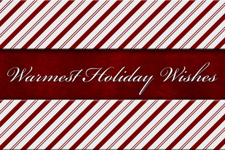 warmest: Warmest Holiday Wishes Message, Red and White Candy Cane Stripe Background with red plush and text Warmest Holiday Wishes