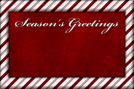 plush: Red and White Striped Candy Cane Striped with embroidery and red plush Background with copy space for your message and text Seasons Greetings Stock Photo