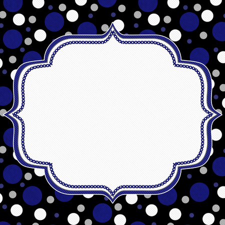 navy blue background: Blue, White and Black Polka Dot Frame with Embroidery Stitches Background with center for your message