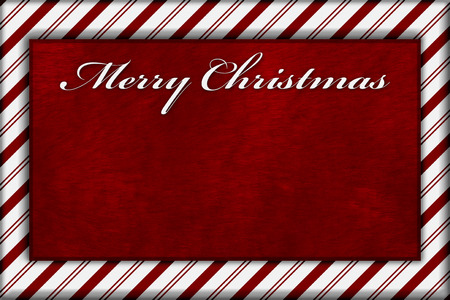 candy border: Red and White Striped Candy Cane Striped with embroidery and red plush Background with copy space for your message and text Merry Christmas Stock Photo