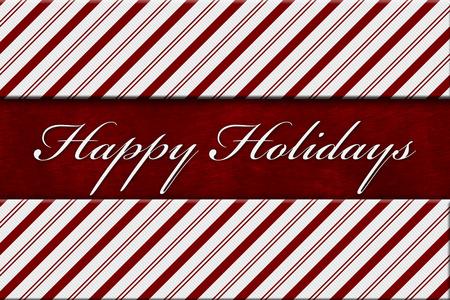 rayas de colores: Buenas fiestas mensaje, rojo y blanco del bastón de caramelo de la raya de fondo con felpa roja y el texto buenas fiestas Foto de archivo