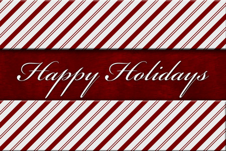 stripe: Happy Holidays Message, Red and White Candy Cane Stripe Background with red plush and text Happy Holidays