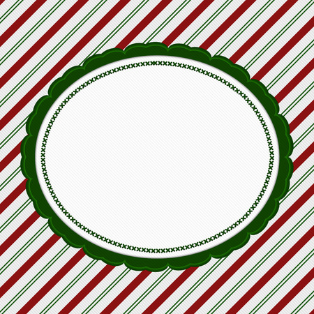 striped background: Green, Red and White Striped Candy Cane Striped with embroidery Background with copy space for your message Stock Photo