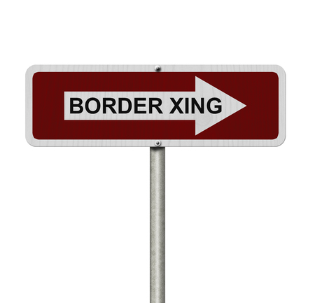 xing: The way to the Border Crossing, Red and white street sign with word Border Xing isolated on white Stock Photo