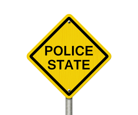 police state: Police State Caution Road Sign, Caution sign with word Police State isolated on white Stock Photo