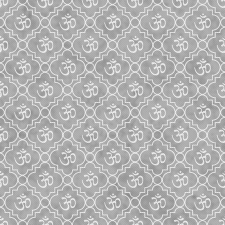 aum: Gray and White Aum Hindu Symbol Tile Pattern Repeat Background that is seamless and repeats