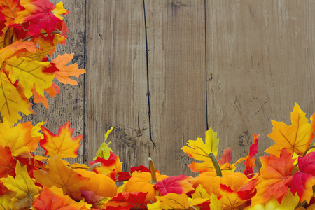 blank space: Autumn Leaves and Pumpkins Background, Autumn Leaves and Pumpkins with grunge wood with space for your message