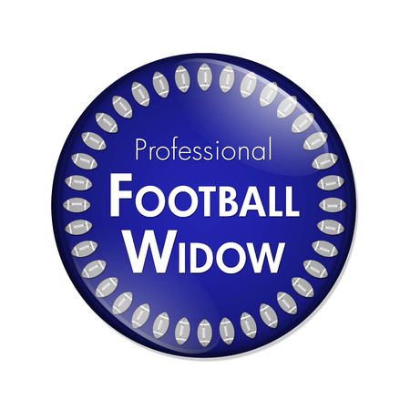 sports fan: Professional Football Widow Button, A Blue and White button with words Professional Football Widow and Footballs isolated on a white background