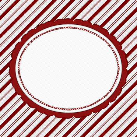 candy cane: Red and White Striped Candy Cane Striped with embroidery Background with copy space for your message