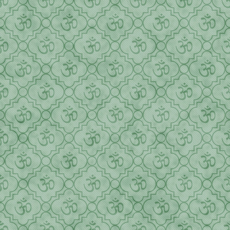 Green Aum Hindu Symbol Tile Pattern Repeat Background that is seamless and repeats Stock Photo