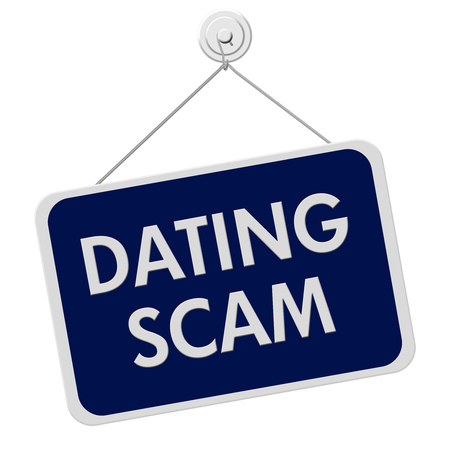 hustle: A blue and white sign with the words Dating Scam isolated on a white background Stock Photo